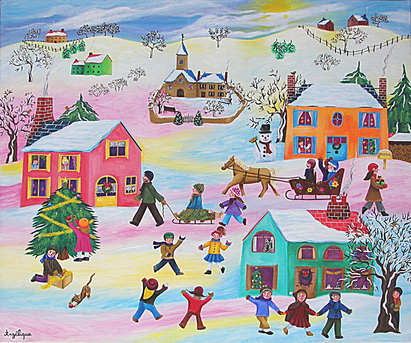 Le village sous la neige